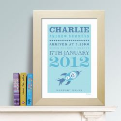 Personalised New Baby Print - Rocket